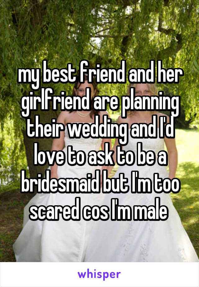 my best friend and her girlfriend are planning their wedding and I'd love to ask to be a bridesmaid but I'm too scared cos I'm male