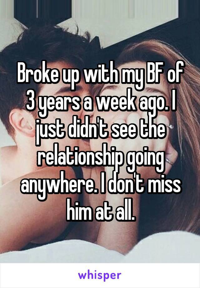 Broke up with my BF of 3 years a week ago. I just didn't see the relationship going anywhere. I don't miss him at all.