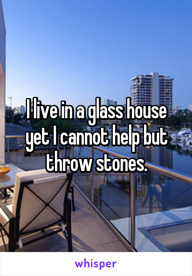 I live in a glass house yet I cannot help but throw stones.
