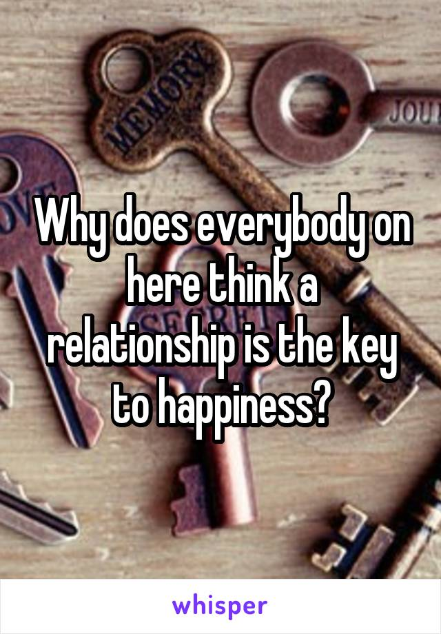 Why does everybody on here think a relationship is the key to happiness?