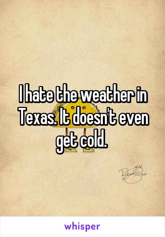 I hate the weather in Texas. It doesn't even get cold.