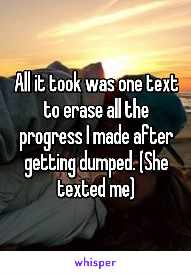 All it took was one text to erase all the progress I made after getting dumped. (She texted me)