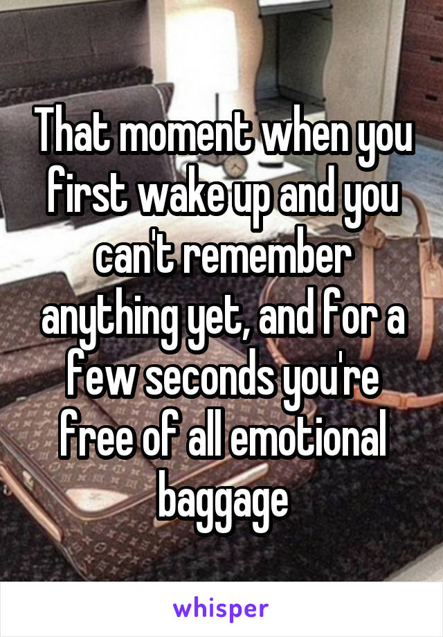 That moment when you first wake up and you can't remember anything yet, and for a few seconds you're free of all emotional baggage
