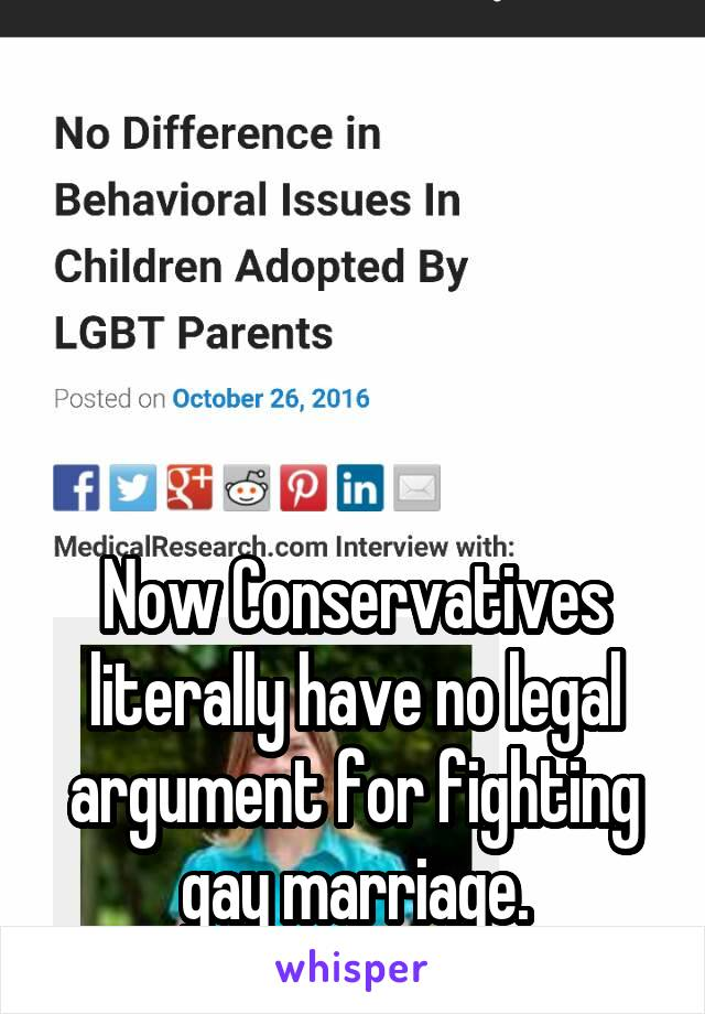 Now Conservatives literally have no legal argument for fighting gay marriage.