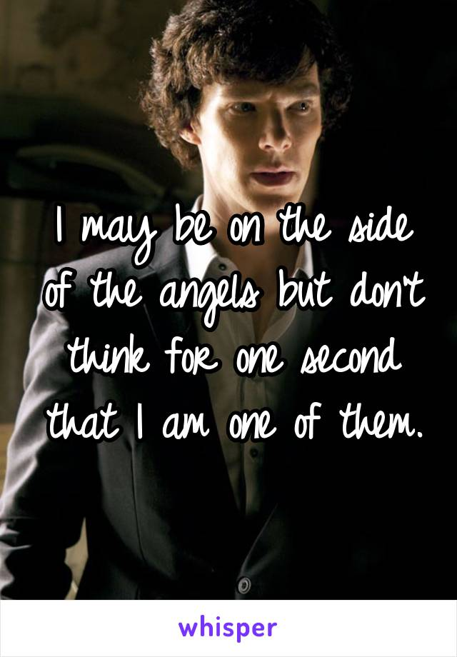 I may be on the side of the angels but don't think for one second that I am one of them.