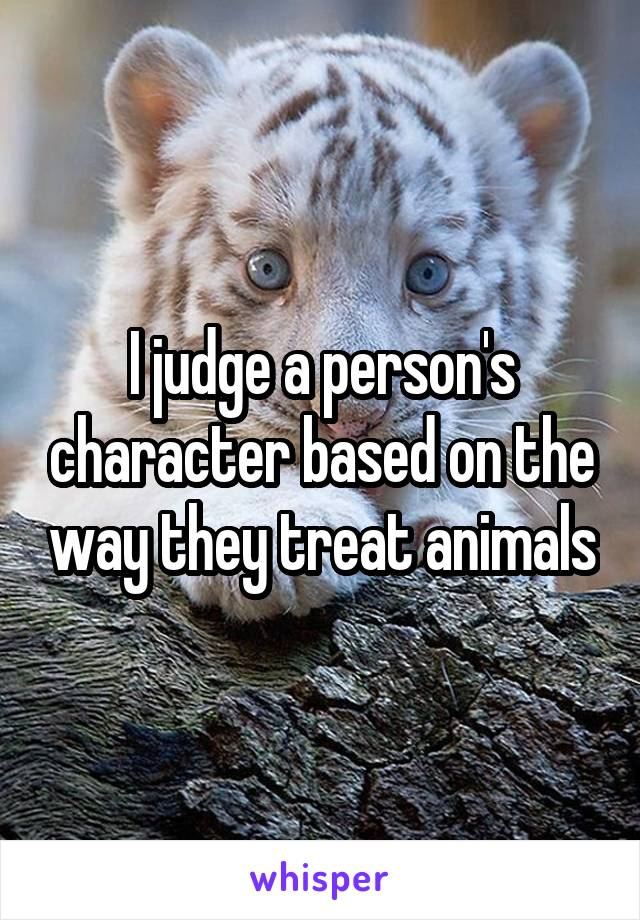 I judge a person's character based on the way they treat animals