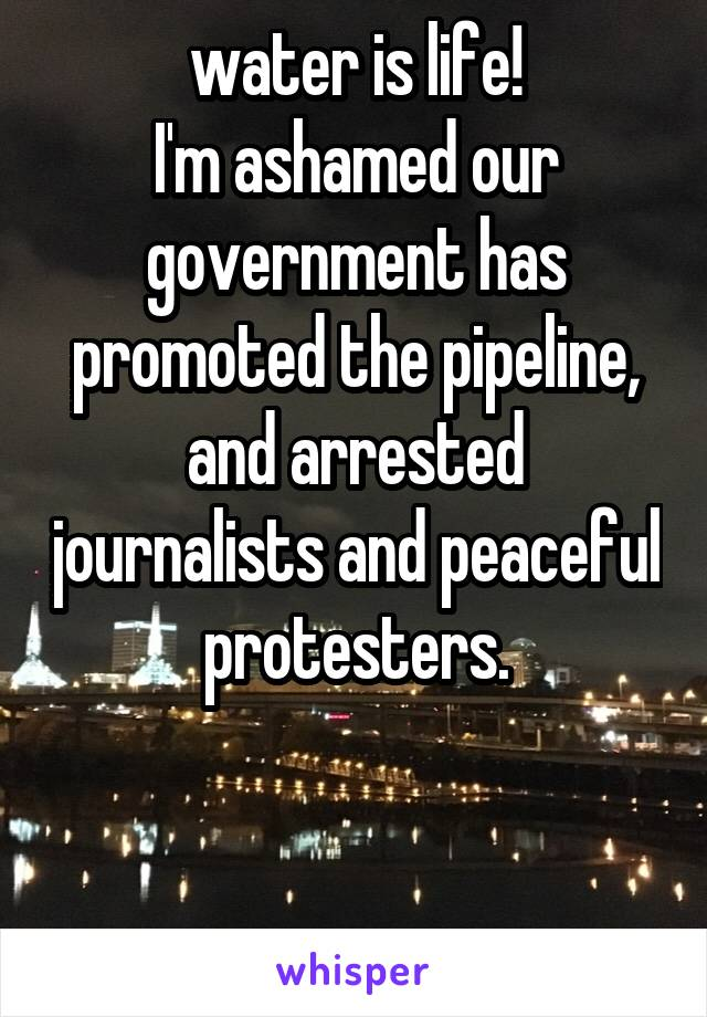 water is life! I'm ashamed our government has promoted the pipeline, and arrested journalists and peaceful protesters.