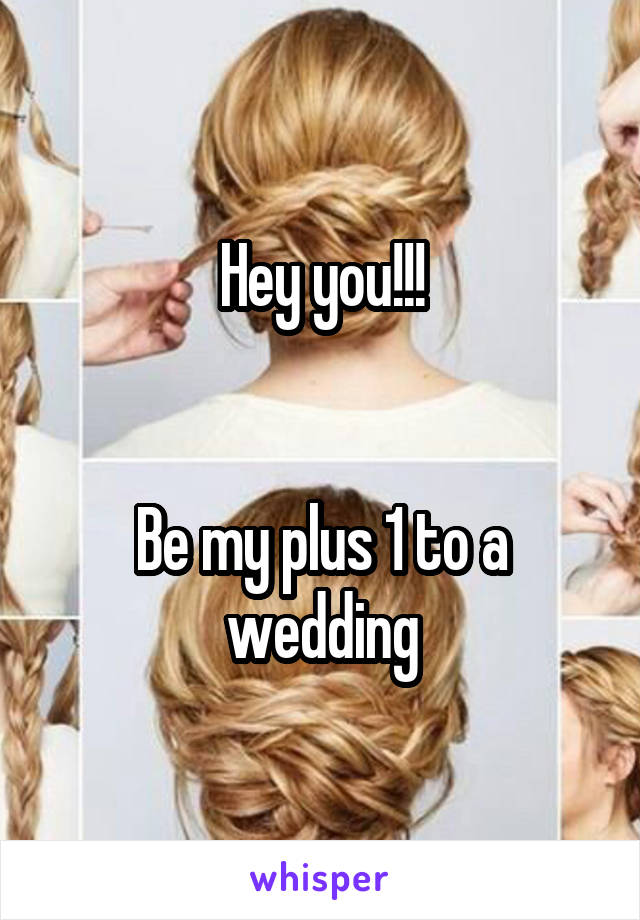 Hey you!!!   Be my plus 1 to a wedding