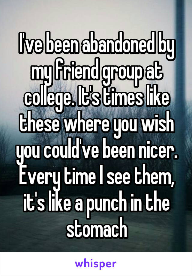 I've been abandoned by my friend group at college. It's times like these where you wish you could've been nicer. Every time I see them, it's like a punch in the stomach
