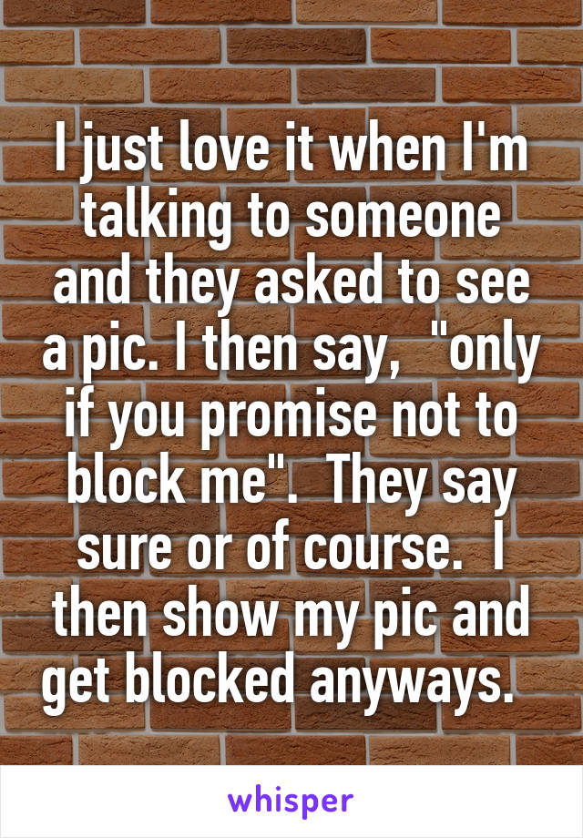 """I just love it when I'm talking to someone and they asked to see a pic. I then say,  """"only if you promise not to block me"""".  They say sure or of course.  I then show my pic and get blocked anyways."""