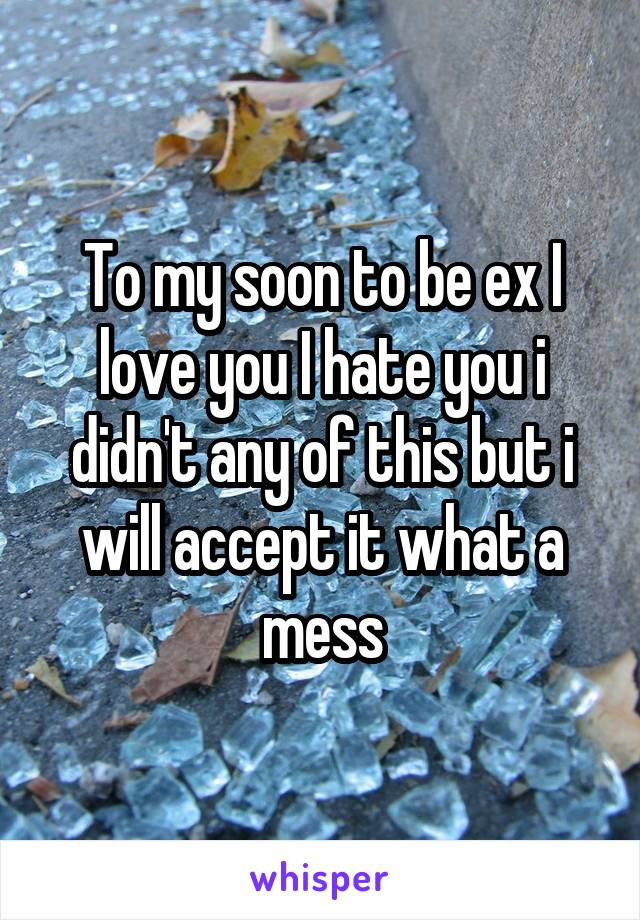 To my soon to be ex I love you I hate you i didn't any of this but i will accept it what a mess