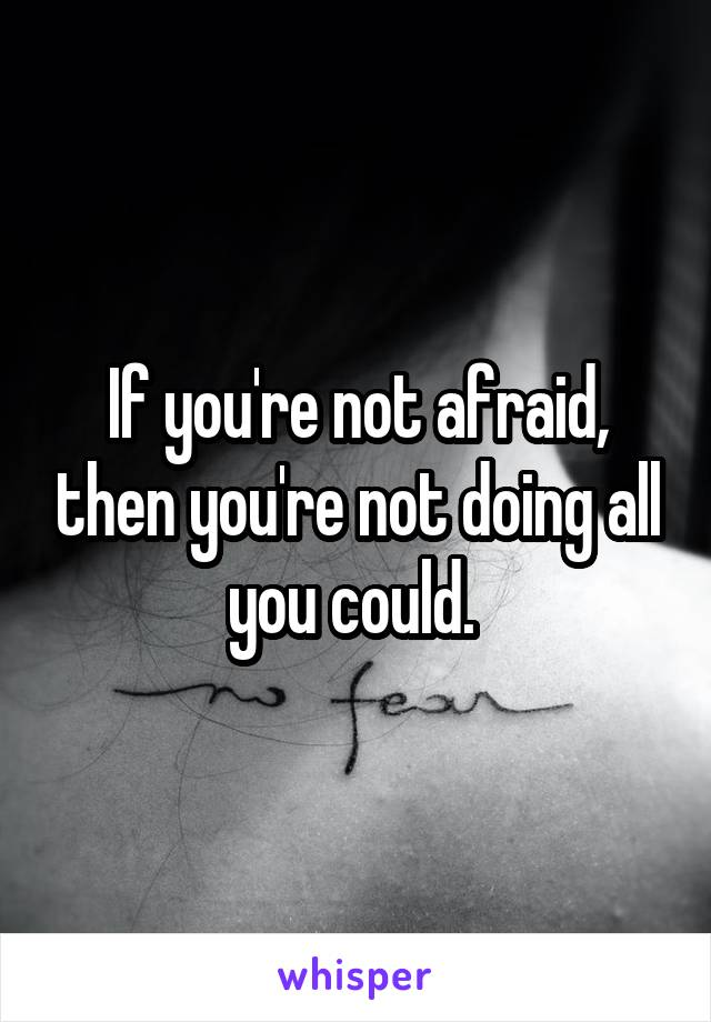 If you're not afraid, then you're not doing all you could.