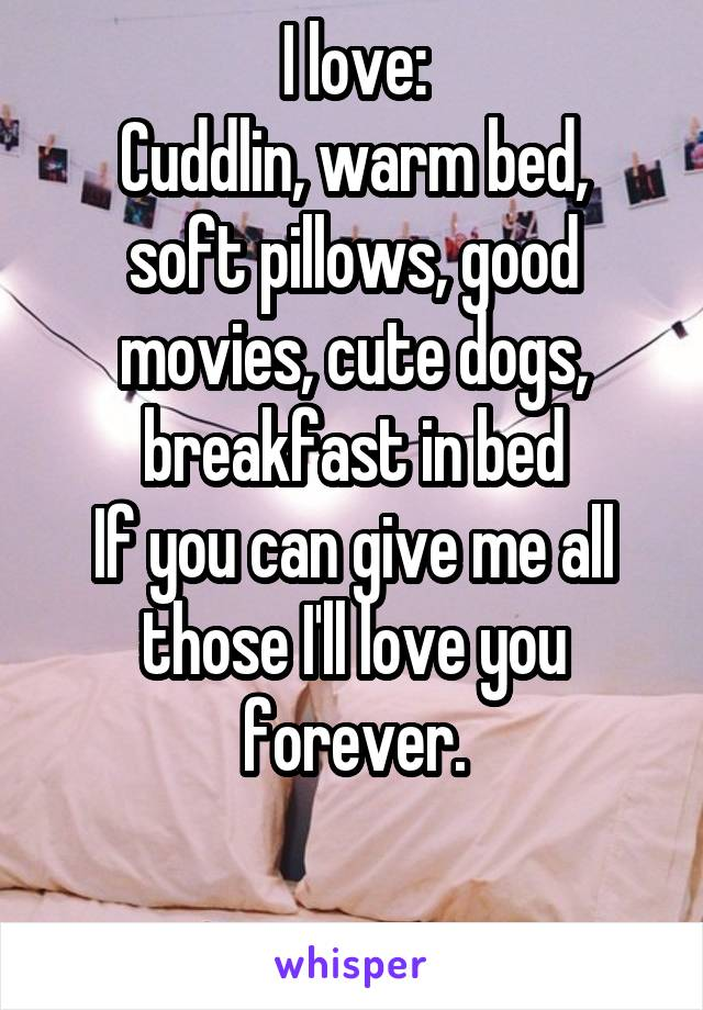 I love: Cuddlin, warm bed, soft pillows, good movies, cute dogs, breakfast in bed If you can give me all those I'll love you forever.