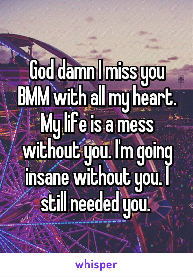 God damn I miss you BMM with all my heart. My life is a mess without you. I'm going insane without you. I still needed you.