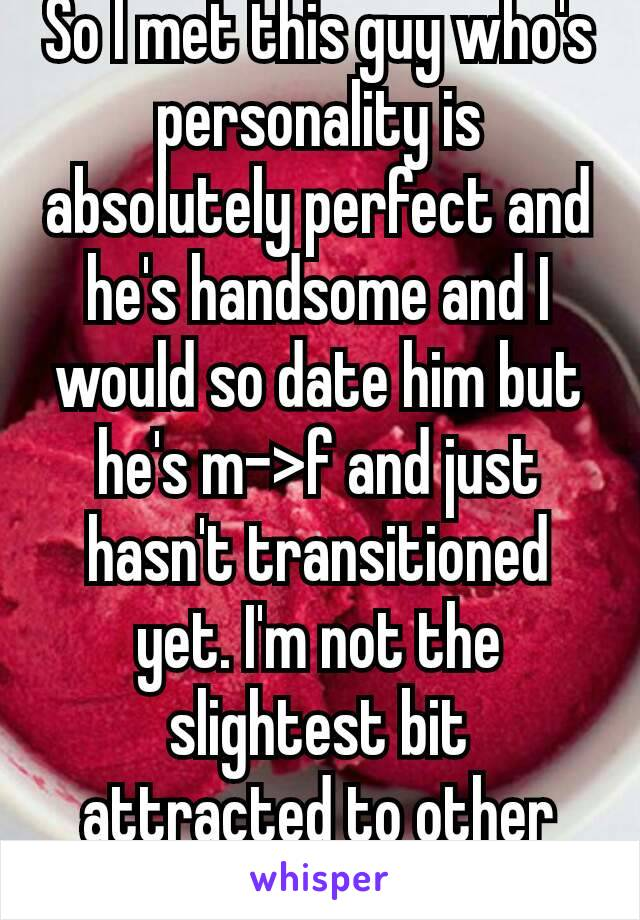 So I met this guy who's personality is absolutely perfect and he's handsome and I would so date him but he's m->f and just hasn't transitioned yet. I'm not the slightest bit attracted to other girls😥