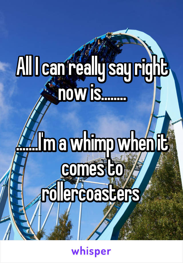 All I can really say right now is........  .......I'm a whimp when it comes to rollercoasters
