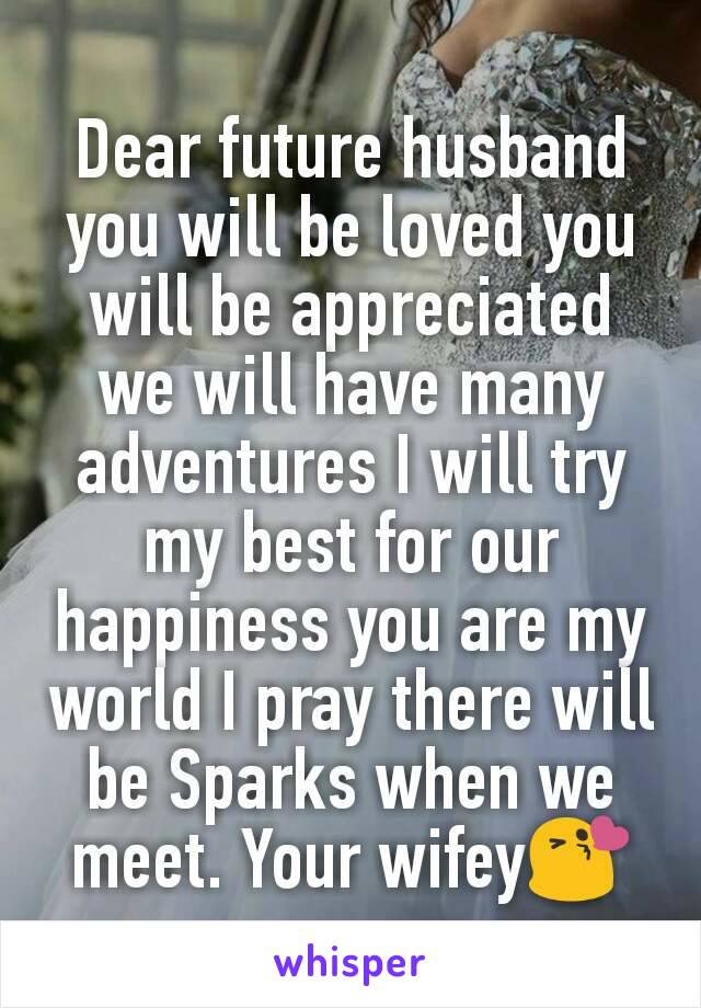 Dear future husband you will be loved you will be appreciated we will have many adventures I will try my best for our happiness you are my world I pray there will be Sparks when we meet. Your wifey😘