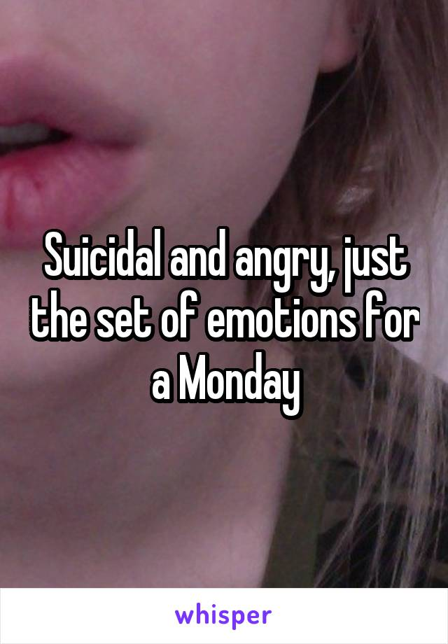 Suicidal and angry, just the set of emotions for a Monday
