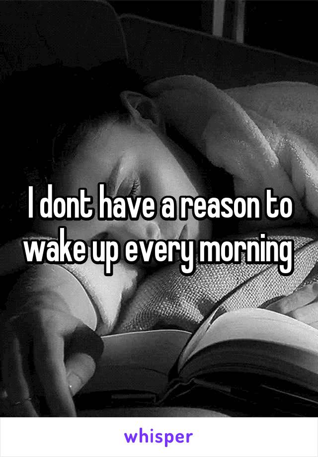 I dont have a reason to wake up every morning