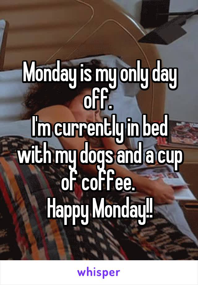 Monday is my only day off.  I'm currently in bed with my dogs and a cup of coffee.  Happy Monday!!