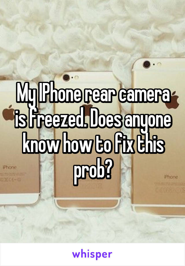 My IPhone rear camera is freezed. Does anyone know how to fix this prob?