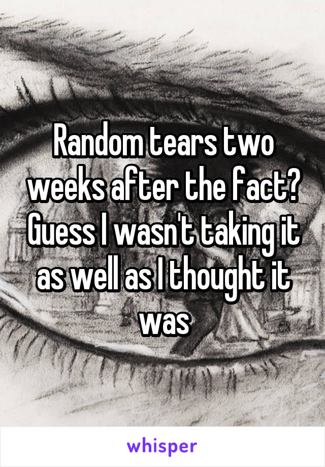 Random tears two weeks after the fact? Guess I wasn't taking it as well as I thought it was