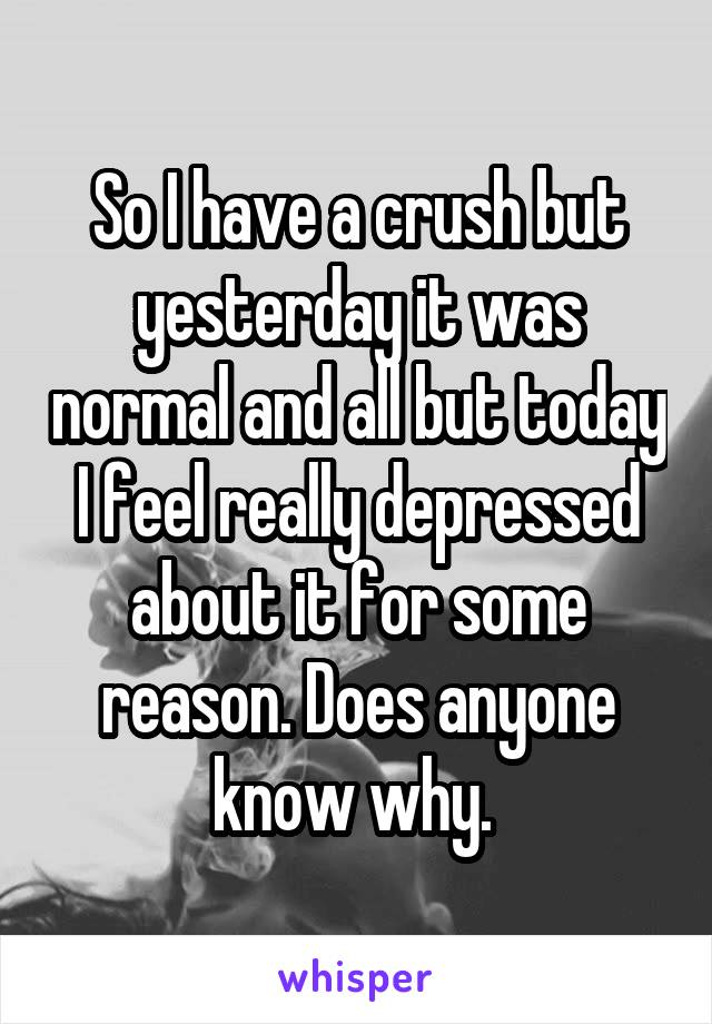 So I have a crush but yesterday it was normal and all but today I feel really depressed about it for some reason. Does anyone know why.