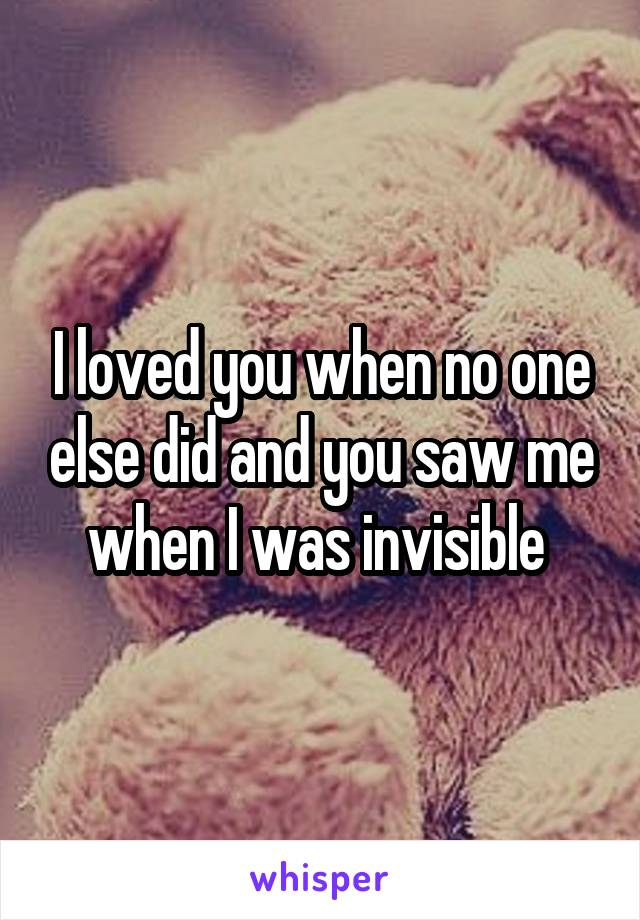 I loved you when no one else did and you saw me when I was invisible