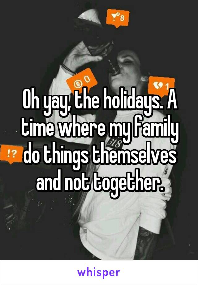 Oh yay, the holidays. A time where my family do things themselves and not together.