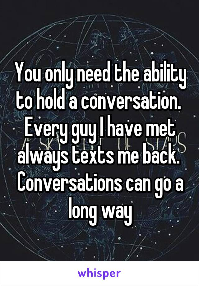 How to hold a conversation with a guy