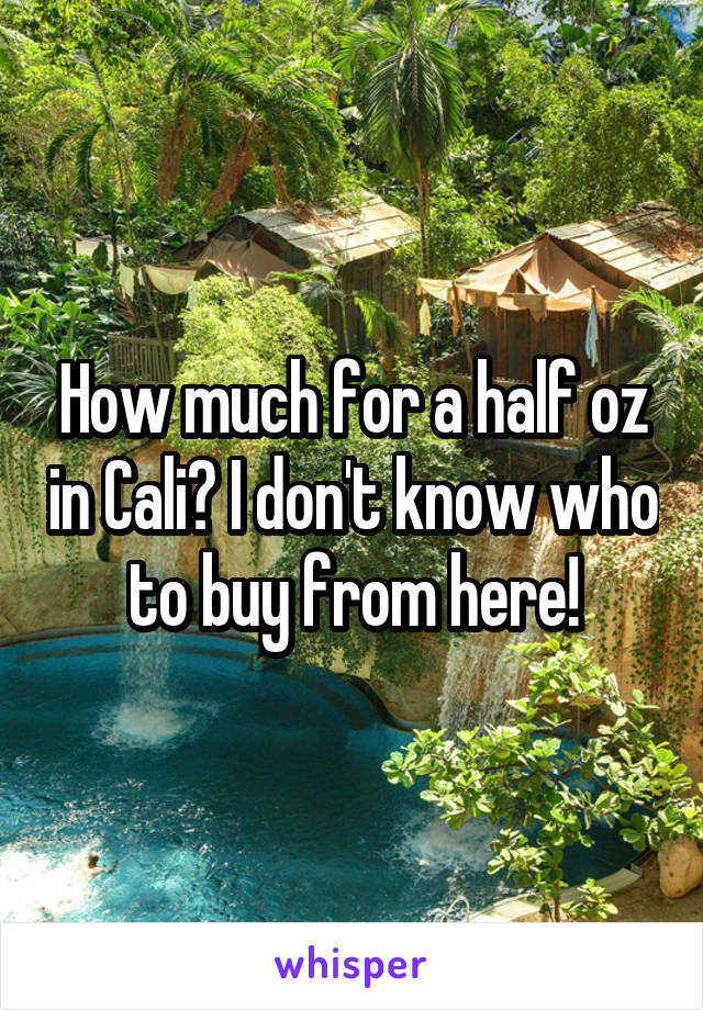How much for a half oz in Cali? I don't know who to buy from here!