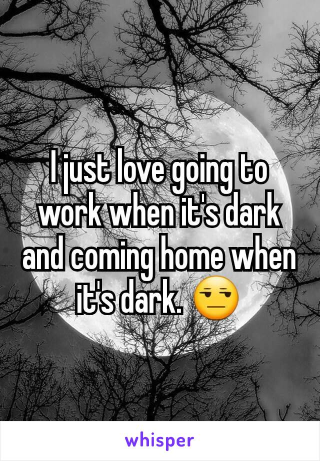 I just love going to work when it's dark and coming home when it's dark. 😒