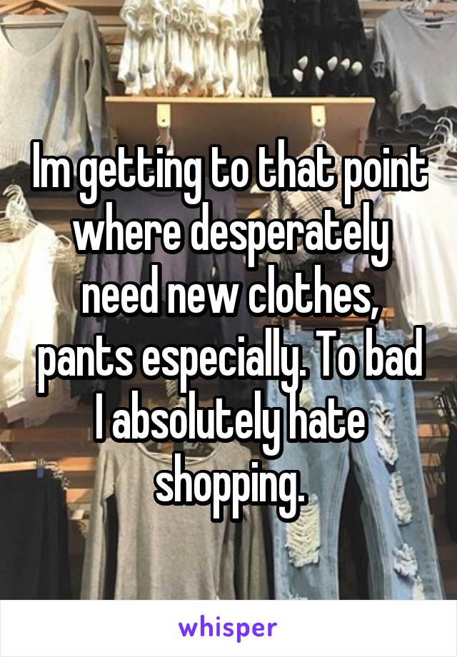 Im getting to that point where desperately need new clothes, pants especially. To bad I absolutely hate shopping.