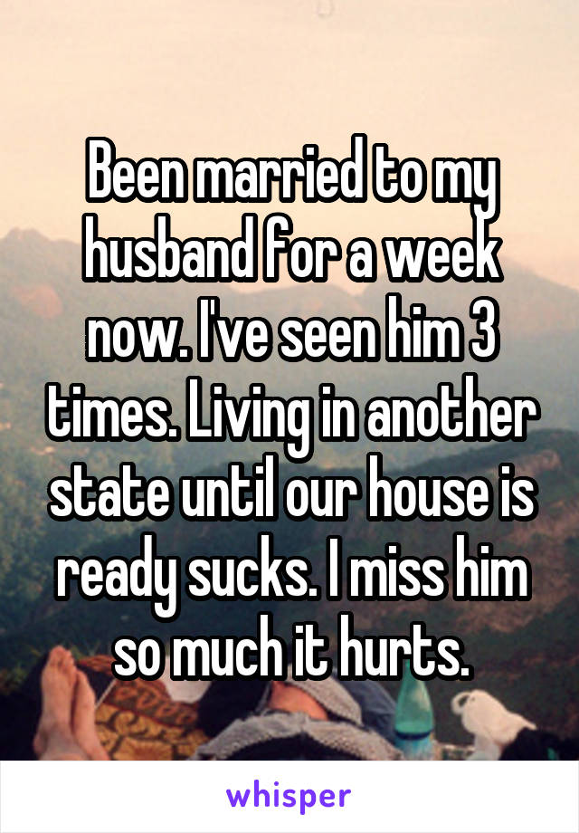 Been married to my husband for a week now. I've seen him 3 times. Living in another state until our house is ready sucks. I miss him so much it hurts.