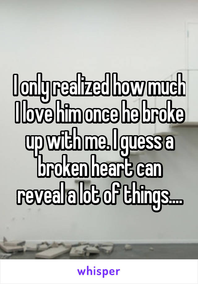 I only realized how much I love him once he broke up with me. I guess a broken heart can reveal a lot of things....