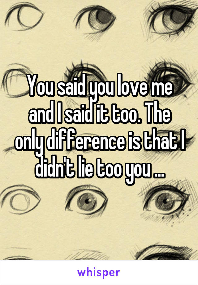 You said you love me and I said it too. The only difference is that I didn't lie too you ...