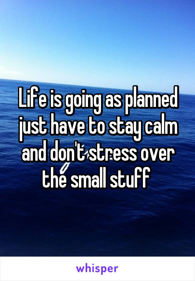 Life is going as planned just have to stay calm and don't stress over the small stuff