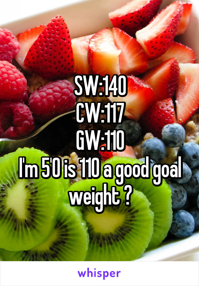 SW:140 CW:117 GW:110 I'm 5'0 is 110 a good goal weight ?