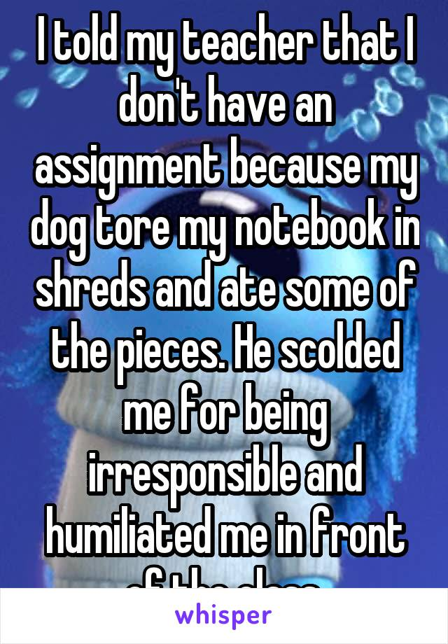 I told my teacher that I don't have an assignment because my dog tore my notebook in shreds and ate some of the pieces. He scolded me for being irresponsible and humiliated me in front of the class.