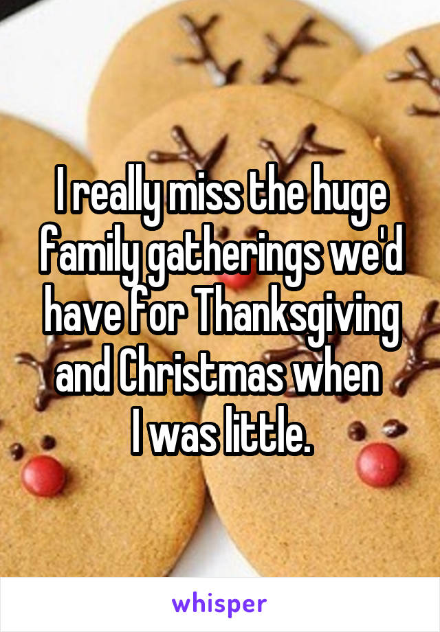 I really miss the huge family gatherings we'd have for Thanksgiving and Christmas when  I was little.