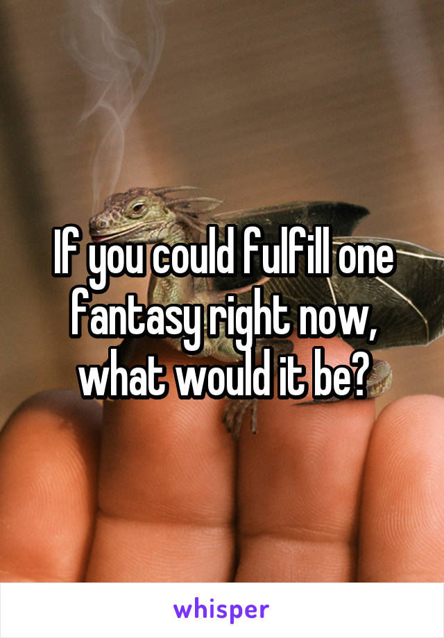 If you could fulfill one fantasy right now, what would it be?