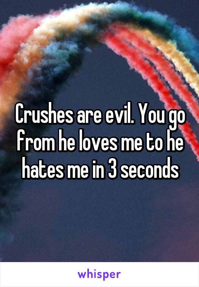 Crushes are evil. You go from he loves me to he hates me in 3 seconds