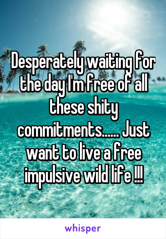 Desperately waiting for the day I'm free of all these shity commitments...... Just want to live a free impulsive wild life !!!