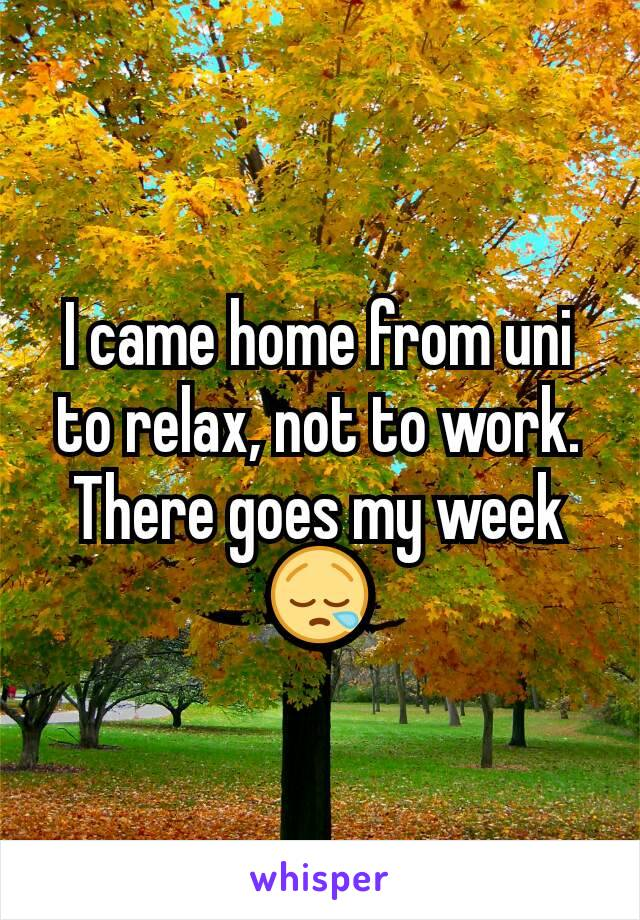 I came home from uni to relax, not to work. There goes my week 😪