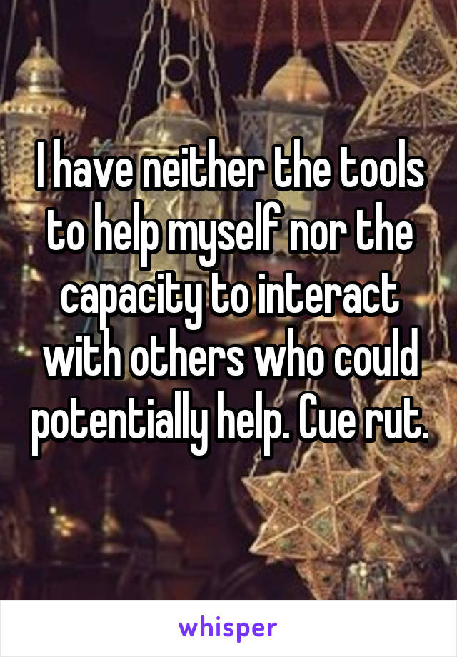 I have neither the tools to help myself nor the capacity to interact with others who could potentially help. Cue rut.
