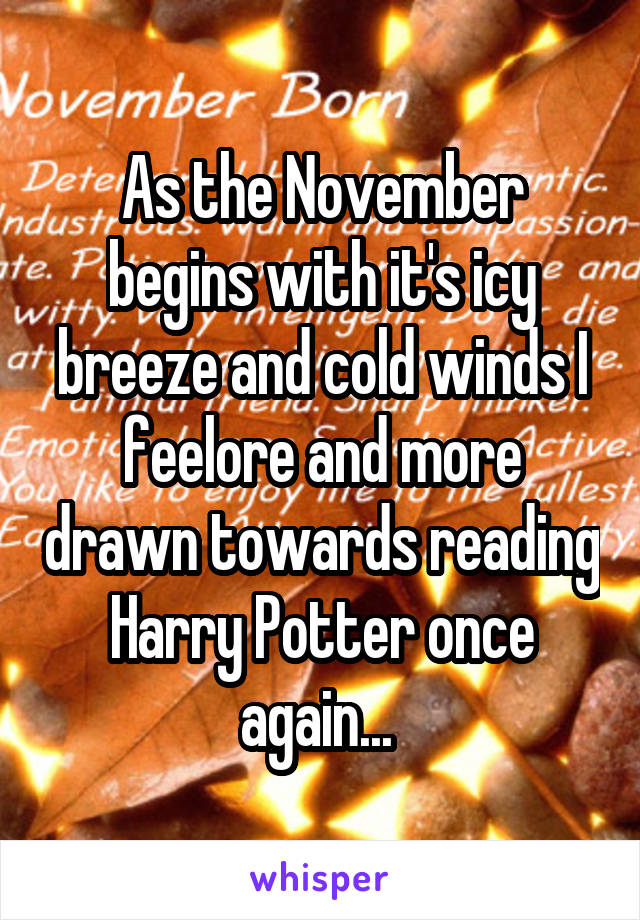 As the November begins with it's icy breeze and cold winds I feelore and more drawn towards reading Harry Potter once again...