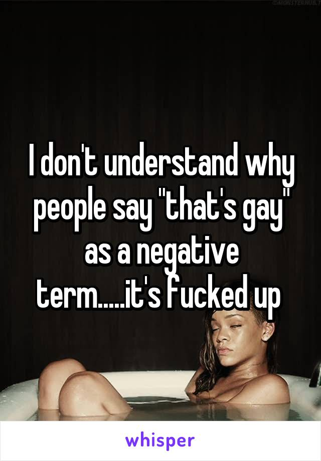 """I don't understand why people say """"that's gay"""" as a negative term.....it's fucked up"""