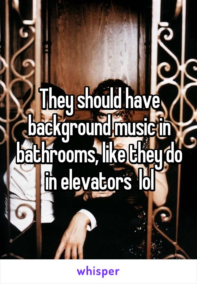 They should have background music in bathrooms, like they do in elevators  lol