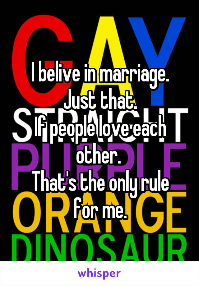 I belive in marriage. Just that. If people love each other.  That's the only rule for me.