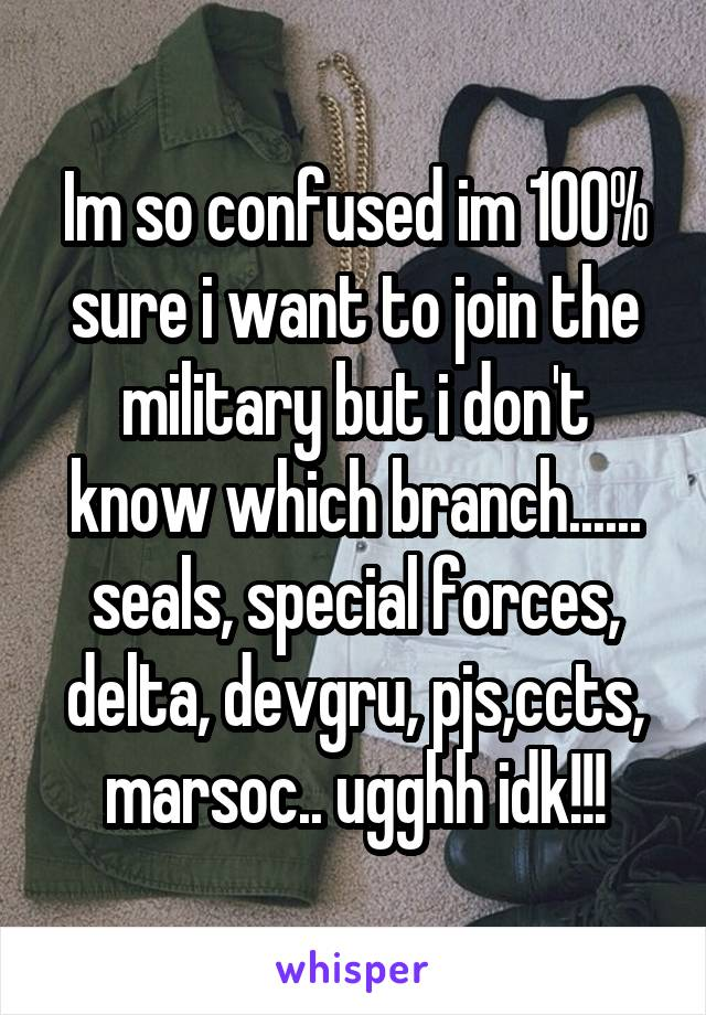 Im so confused im 100% sure i want to join the military but i don't know which branch...... seals, special forces, delta, devgru, pjs,ccts, marsoc.. ugghh idk!!!